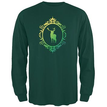Deer Silhouette Forest Green Adult Long Sleeve T-Shirt