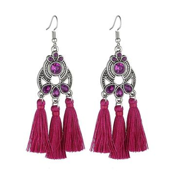 LOVBEAFAS Bohemian Crystal Tassel Earrings Black White Blue Red Pink Silk Fabric Long Drop Tassel Earrings For Women Jewelry