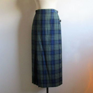 Vintage Laura Ashley Pleated Skirt Woman's Vintage 80s Green Blue Wool Tartan Kilt Plaid Leather Strap Skirt 8