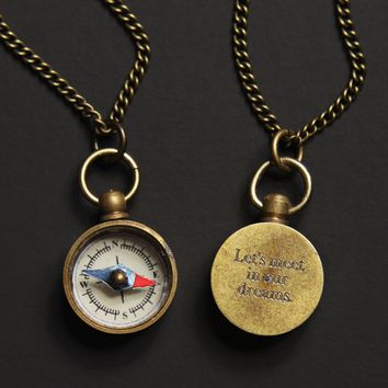Personalized Miniature Compass Necklace for Men