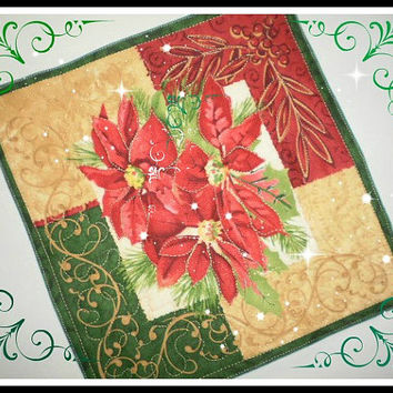 Holidays Red Poinsettias Duo Quilted Handmade Christmas Candle Mat Hostess Teacher Gift Secret Santa Gift Holiday Basket Accent