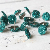 Push Pins Teal Turquoise Glitter Thumb Tacks by WhenItRainsShop