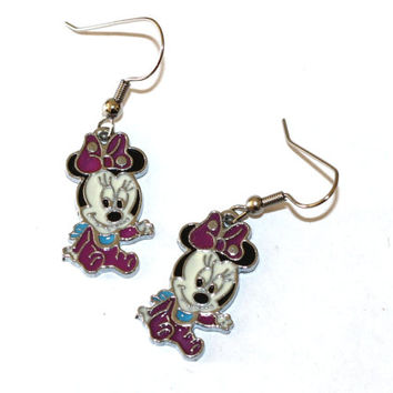 baby minnie mouse enamel charm earrings from