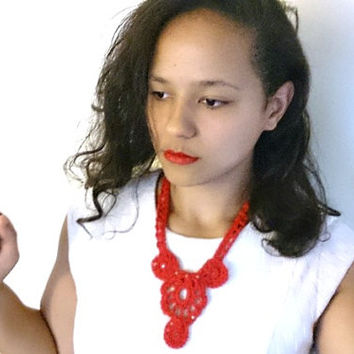Crochet necklace, Red flower necklace - Red bib necklace, Statement necklace with crystals