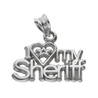 LogoArt Sterling Silver ''I Love My Sheriff'' Pendant (Grey)
