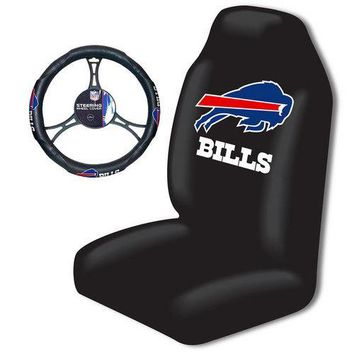 Buffalo Bills NFL Car Seat Cover and Steering Wheel Cover Set