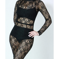 See-through lace long sleeve bodycon dress