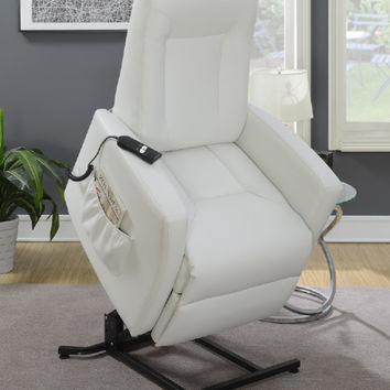 Poundex F6718 Mabel II white bonded leather power lift recliner chair