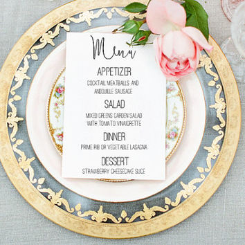 Wedding Dinner Menu PRINTABLE - DIY Menu - Custom Made - Wedding Template