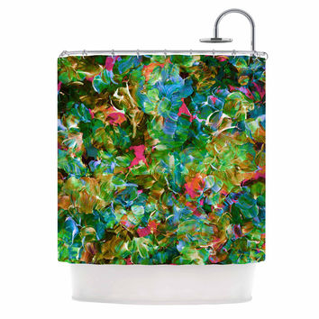 "Ebi Emporium ""Bloom On! Tropical "" Green Blue Shower Curtain"