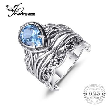 JewelryPalace Vintage 6.20ct Natural Sky Blue Topaz Hollow Carved Rings For Women 925 Sterling Silver Luxury Brand Fine Jewelry