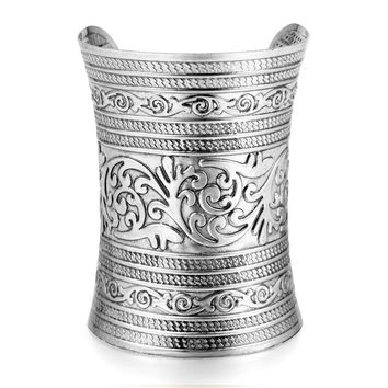 D 1pc 2015 tibetan punk rock vintage gold silver plated carving open end cuff arm womens bangle bracelet armlet jewelry pulseira