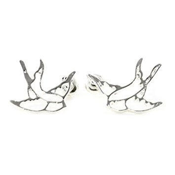 Sparrow Outline Stud Earrings Silver Tone EJ40 Wildlife Bird Nature Fashion Jewelry