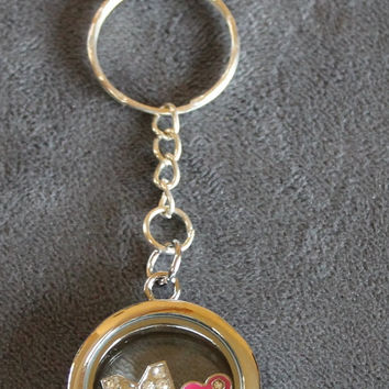 SALE Glass key chain locket with rhinestone initial M, Pink Sister heart, birthstone crystal, all letters available