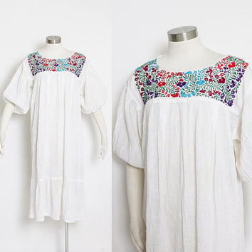 Vintage 1970s Dress - White Gauze Cotton Embroidered Mexican Semi-Sheer Boho 70s -  Medium