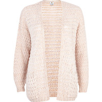 River Island Womens Light pink bobble stitch cardigan