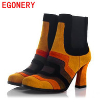 brand women's genuine leather high heels ankle boots round toe high heeled shoes autumn winter fashion sexy black shoes woman