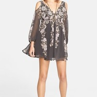 Women's Free People 'Penny Lover' Chiffon Cold Shoulder Mini Dress,