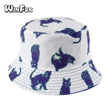 Winfox 2018 New Fashion Summer Reversible White Blue Cat Print Fisherman Bucket Hats For Womens Ladies Girls