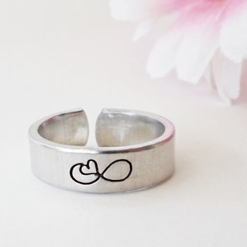 Infinity Ring - Custom Personalized Ring - Custom Ring - Handstamped Ring - Girlfriend Gift - Aluminum Ring - Adjustable Ring - Mothers Day
