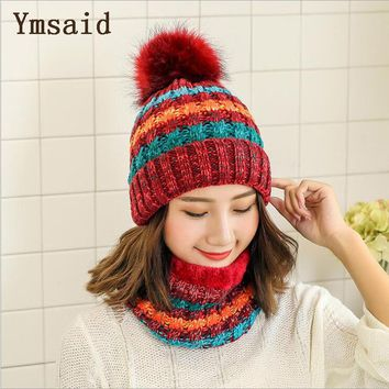 Woman Knit Beanie Hat and Scarf Set Hairball Pom Pom Hats Female Thick Hat 2pcs Winter Warm Cute Girls Fashion Cap Collar Suit