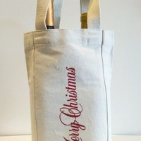 Screen Printed Merry Christmas Wine Tote, Cotton Canvas Wine Tote Bag, » Craftori