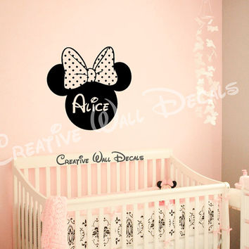 Wall Decal Vinyl Sticker Decals Art Decor Design Disney Custom Baby Name Head Mice Ears Mickey Minnie Mouse Gift Kid Children Nursery(r1383)