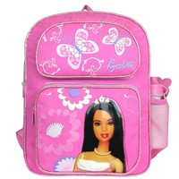 """Licensed Barbie Batterfly 16"""" Pink Large Cargo Backpack with Water Bottle"""