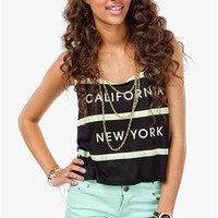 A'GACI Stripe California New York Lightweight Tank - TOPS