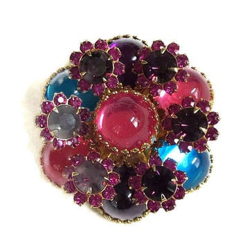 Vintage Pink, Blue, Purple & Fuchsia Cabochons and Rhinestones Tiered Brooch or Pin