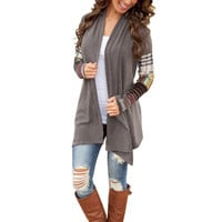 Women Long Sleeve Knitwear Casual Outwear Jacket Coat Sweater Cardigan Gray U59