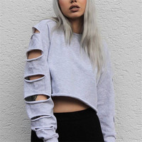 Trainingspak Crop Top Hoodie Women Grey Sexy Cutout Sweatshirt 2016 Brand Hipster Ladies Sportwear Harajuku Hoodie Plus Size