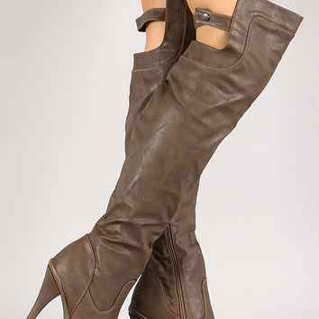 Wild Diva Lounge Charlotte-20 Back Strap Thigh High Platform Boot