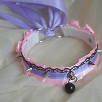 Kittenplay collar - Dark candy - ddlg kitten play little princess pet daddy kink cgl choker - pastel pink and purple nekollars collar