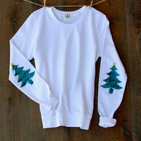 The Cute Ugly Christmas Sweater Sweatshirt with Sequin Christmas Tree Elbow Patch Holiday Sweater