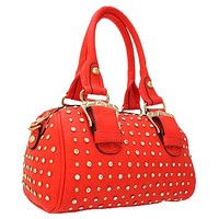 Gorgeous Buckles Bling Rhinestone & Stud Purse Top Handle Bag w/ Shoulder Strap Coral