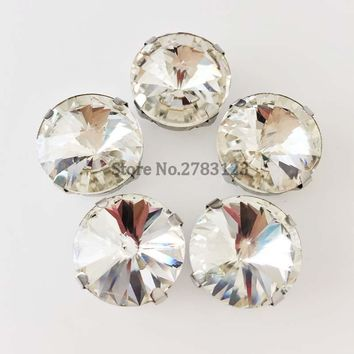 White round shape four claw Silver bottom sew on stones,Superior quality glass loose rhinestones,diy/Clothing accessories