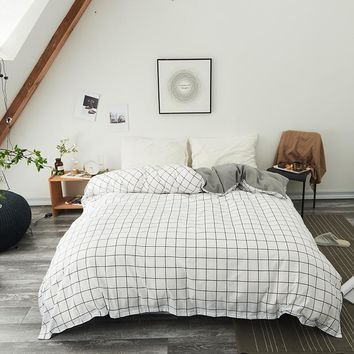 Cool White black plaid Duvet Cover Twin Full Queen King Single modern fashion comfortable Quilt Cover Printing Home One pieceAT_93_12