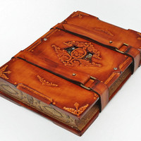 Capitain Nemo's Secret Log, Steampunk Large leather journal, antique style, 7.9x11inch (20.5x28cm).