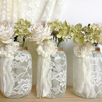 3 ivory lace covered jar vases - bridal shower decoration , wedding decor, home decoration  gift or for you