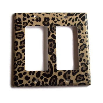 Cheetah Double Rocker / GFI Switchplate, Switch Plate wall decor