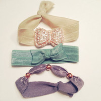 Studded Rose Gold and Rhinestone Bow Hippie Hair Ties Sparkle Girly Embellished Set of Three FREE SHIPPING