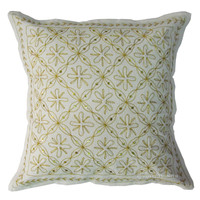 Indian Golden Threads Embroidery Floral White Cotton Throw Pillow