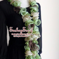 Apple green, Brown, Lime Juice color, Crochet Scarf, Crochet Ruffle Scarf, A030