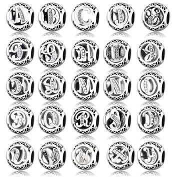Alphabet Carta A-Z Letter Beads Name Fit Original Pandora Charms Bracelet 925 Sterling Silver Bangle Family Friend Gift Berloque