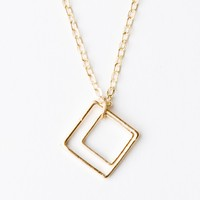 DOUBLE OPEN SQUARE NECKLACE