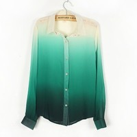 A 083122 u Gradient -sleeved chiffon shirt