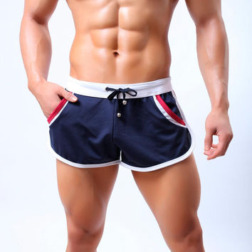 Summer Men`s Quick Dry Comfy Drawstring Breathable Beach Home Shorts Trunks With Side Pouch For Male
