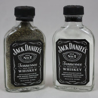 Glass Jack Daniel's Salt & Pepper Shakers, Upcycled Liquor Bottles