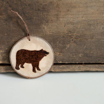 Rustic Wood Slice Ornament with Burned Bear Silhouette.  Woodland Animal Ornament. Wood burned bear on maple